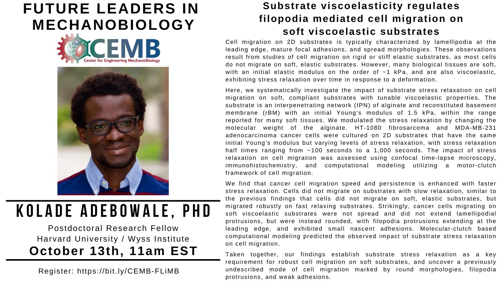 Kolade Adebowale_Future Leaders in Mechanobiology